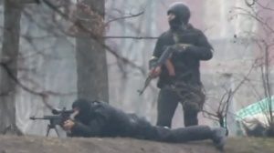 Kiev police snipers aim at protesters